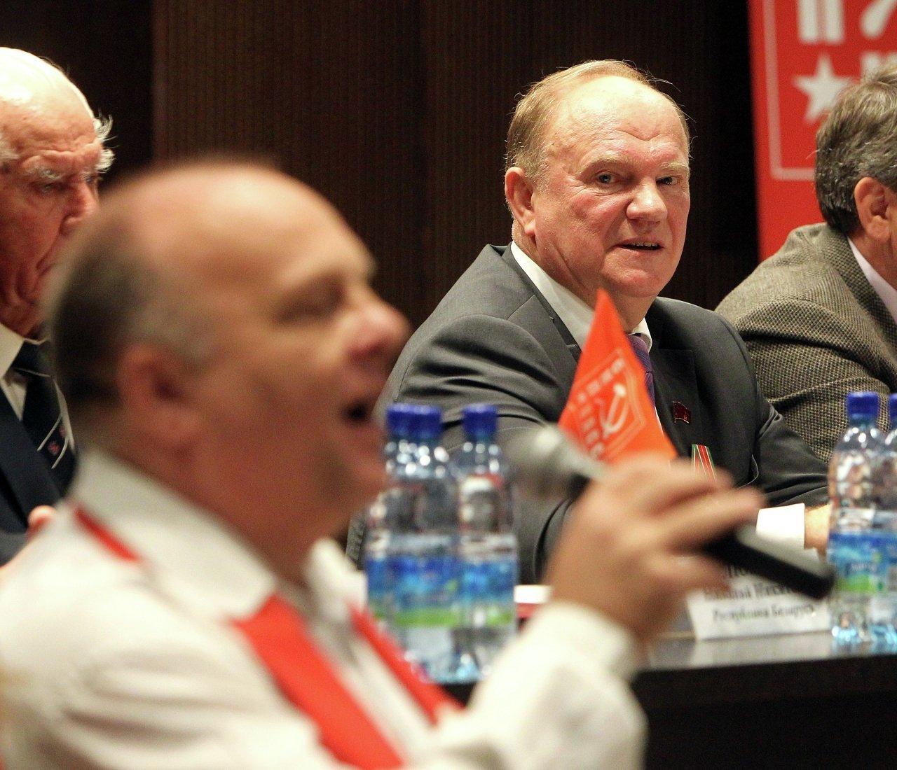 Председатель ЦК КПРФ Геннадий Зюганов на съезде Союза коммунистических партий в Минске