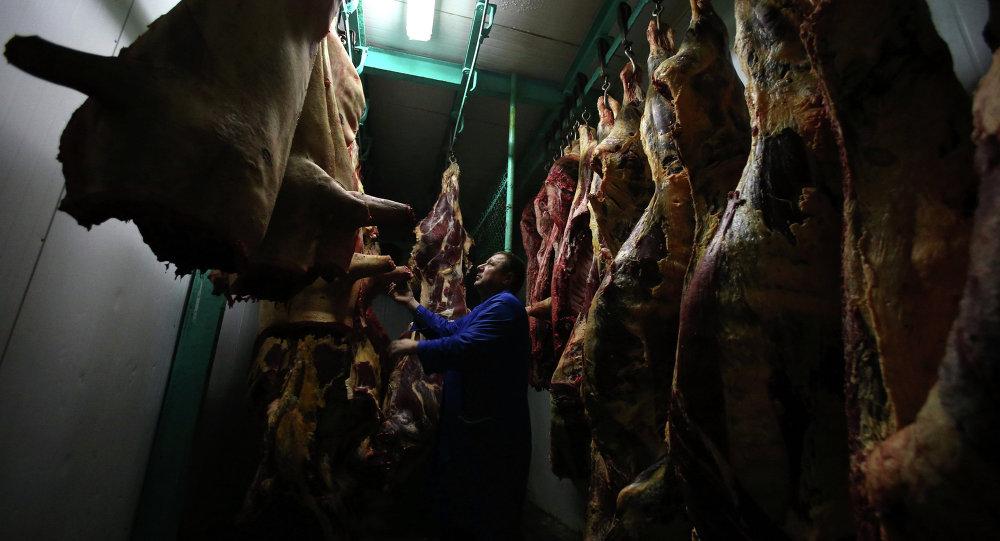 Работа мясного цеха в городе Воложин в Беларуси