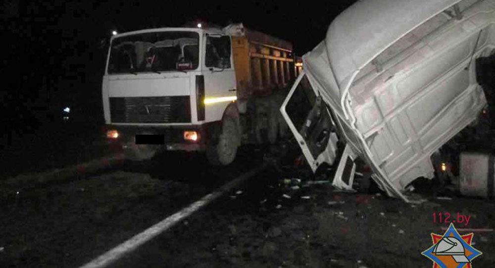 ДТП с четырьмя грузовиками в Борисовском районе