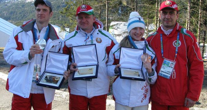 Сергей Новиков, Александр Попов, Дарья Домрачева и Андриан Цыбульский на ОИ-2010 в Ванкувере