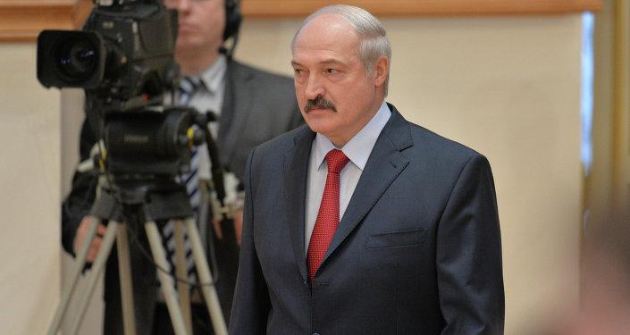 Александр Лукашенко перед началом пресс-конференции 29 января 2015 года