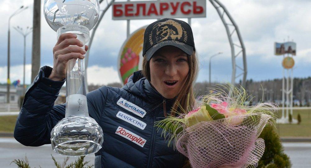 Дарья Домрачева прилетела в Минск