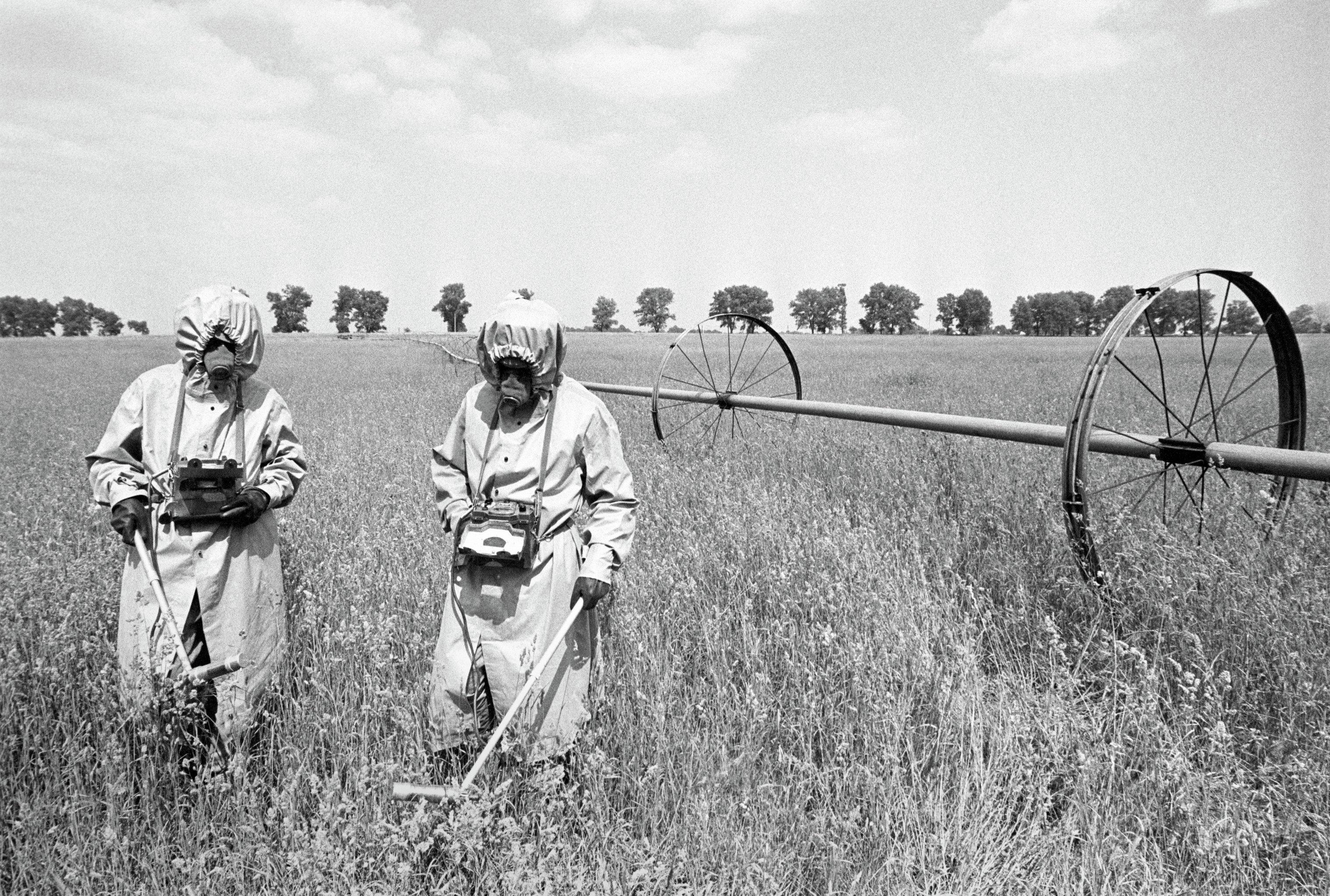 Дозиметристы проводят контроль радиации на полях в районе аварии на Чернобыльской АЭС