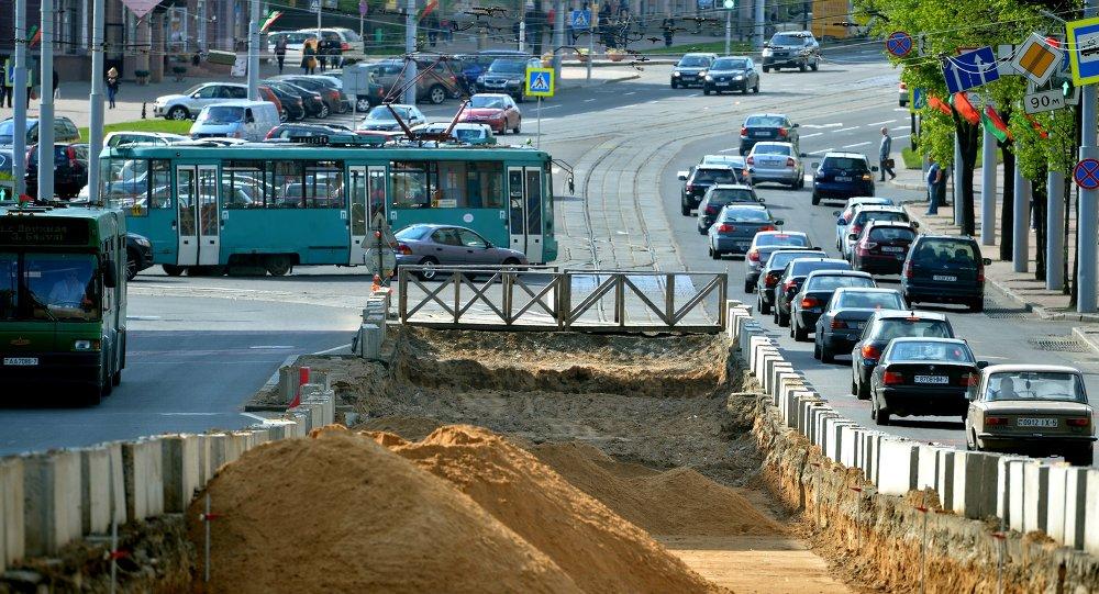 Рэканструкцыя трамвайных шляхоў па вуліцы Казлова