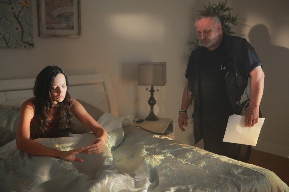 На здымках у Лос-Анджэлесе. Наташа Алам і рэжысёр фільма - Уільям Девиталь, былы каскадзёр.