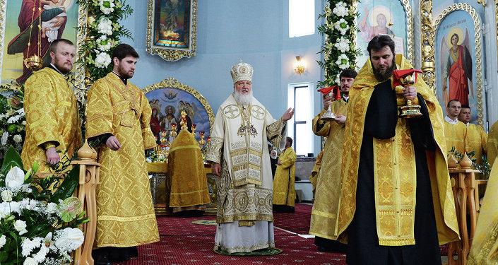 Патриарх Кирилл в соборе в Бресте