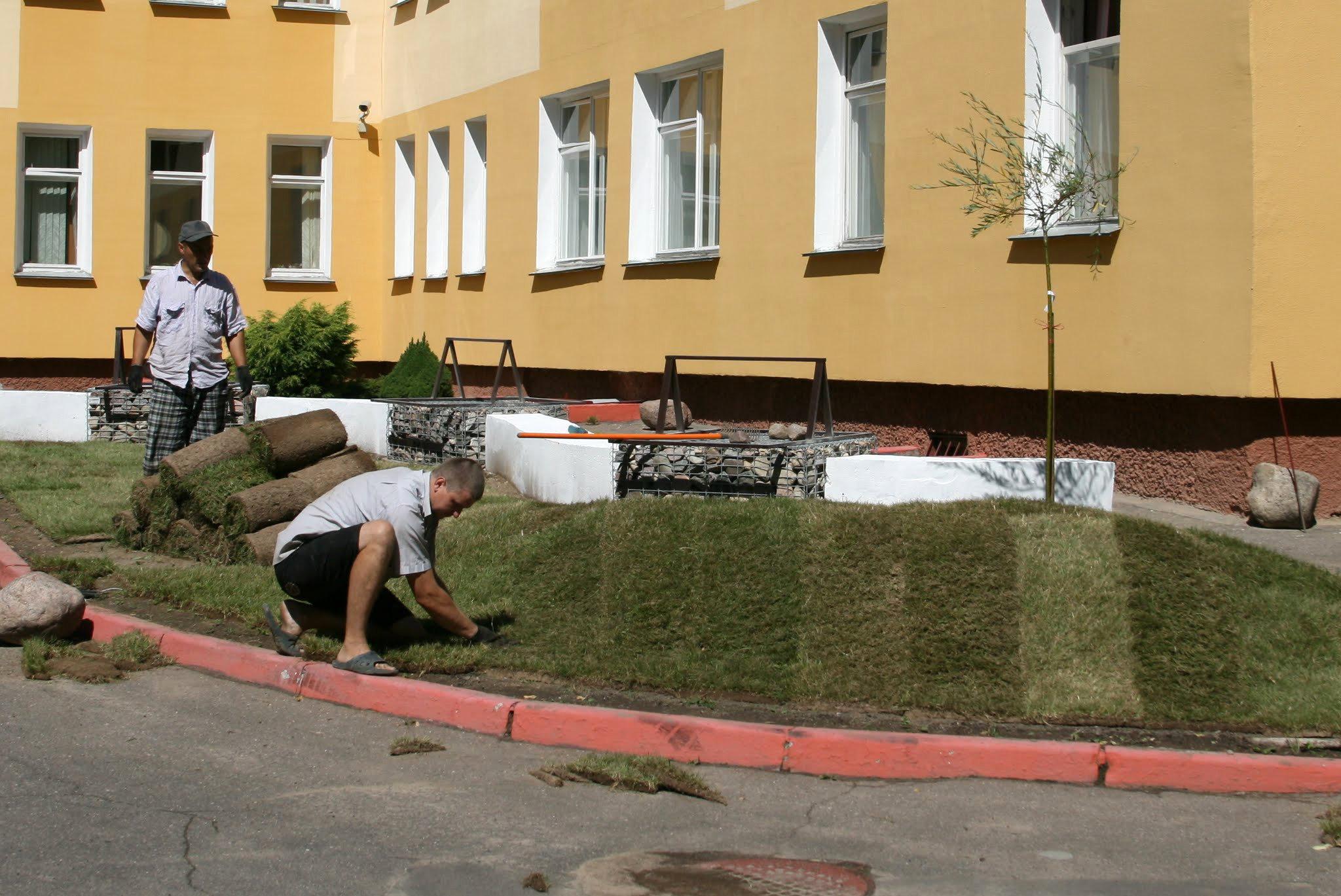 Работа над озеленением двора детского дома