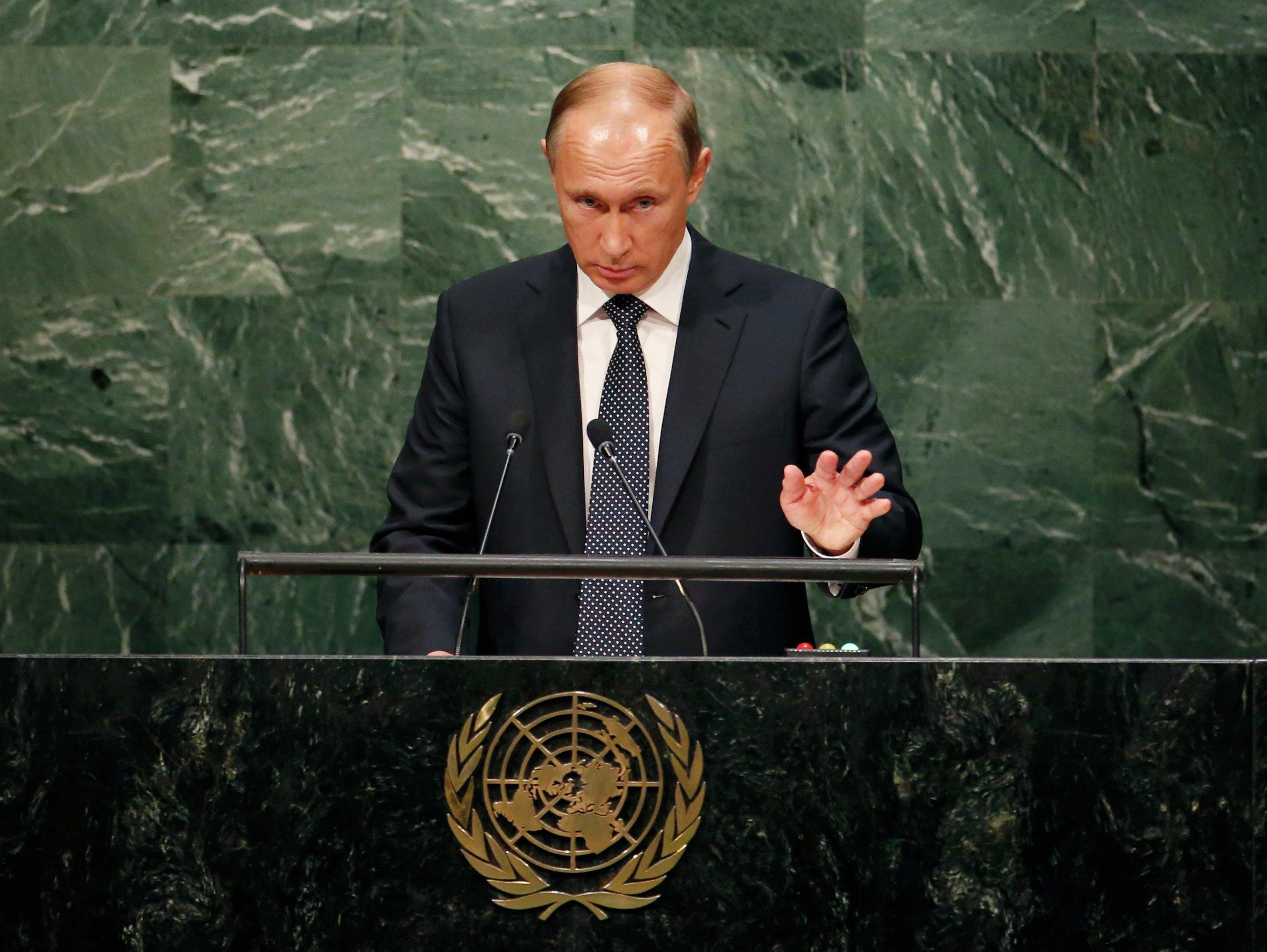 Владимир Путин во время выступления на Генассамблее ООН
