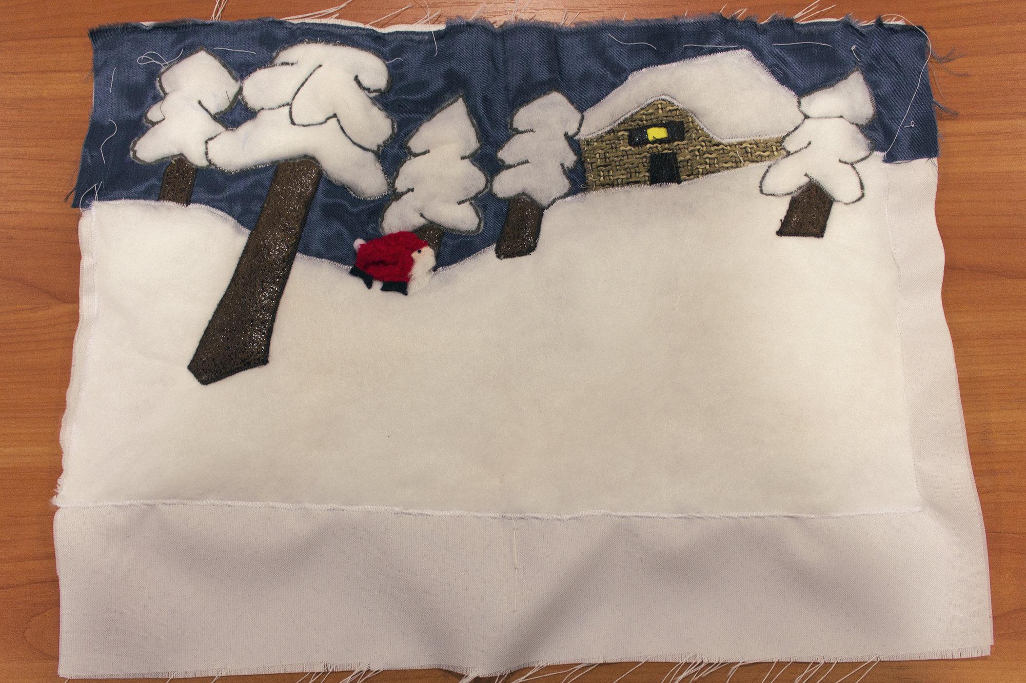 Страница будущей тактильной книжки Маленький Дед Мороз