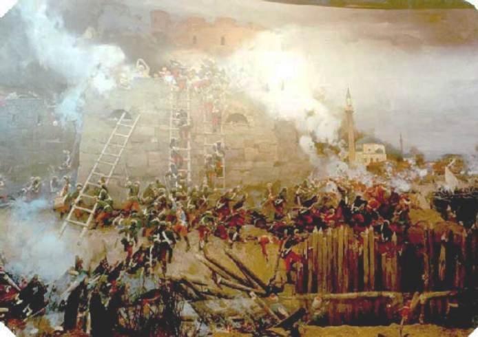 Гравюра С. Шифляра Штурм Измаила 11(22) декабря 1790 года. Выполнена по акварельному рисунку известного художника-баталиста М.М.Иванова. В основу рисунка легли натурные зарисовки, сделанные художником во время боя.