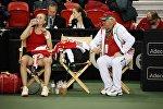 Теннисистка Ольга Говорцова и капитан сборной Беларуси Эдуард Дубров на Кубке Федерации в Квебеке (Канада)