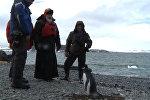СПУТНИК_Патриарх Кирилл с полярниками погулял среди пингвинов по берегу Антарктиды