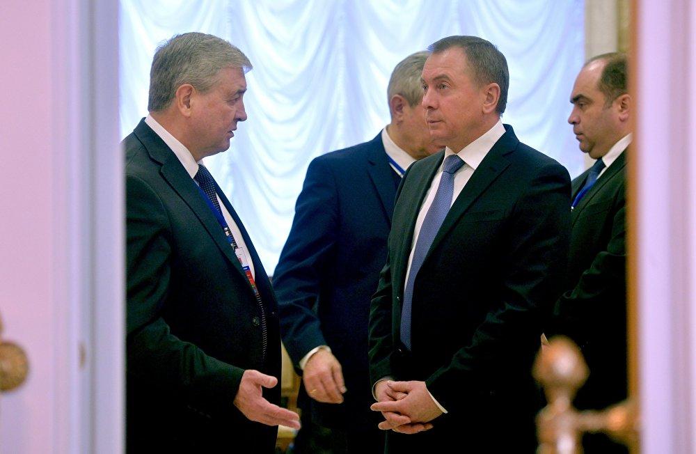 Вице-премьер Владимир Семашко беседует с главой МИД Владимиром Макеем