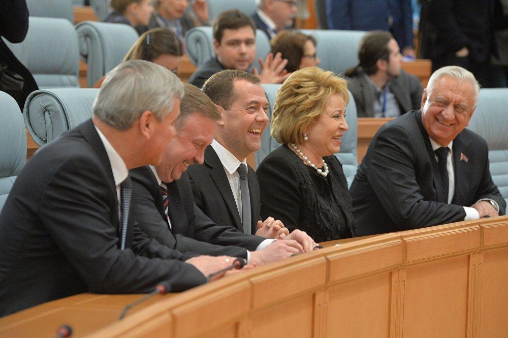Руководители правительств и парламентов Союзного государства на пресс-конференции в Минске