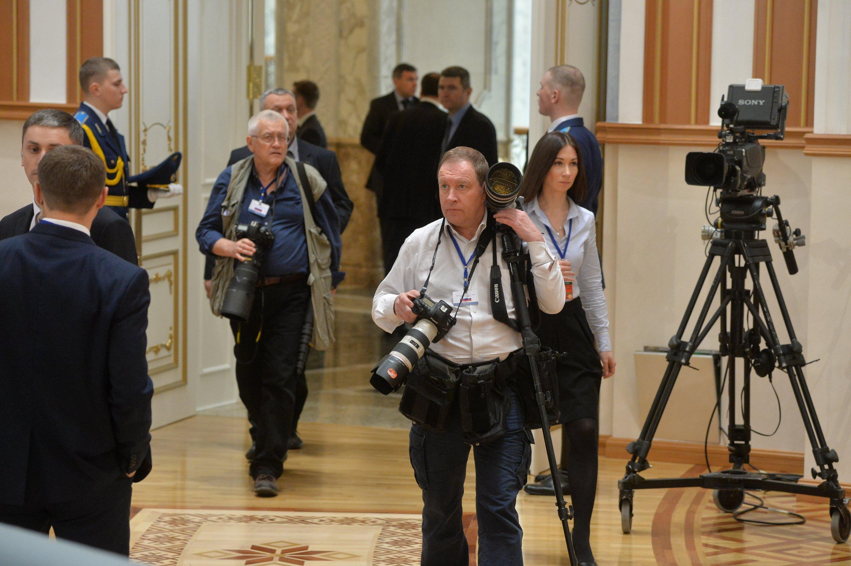 Журналисты перед пресс-конференцией по итогам заседания ВГС СГ