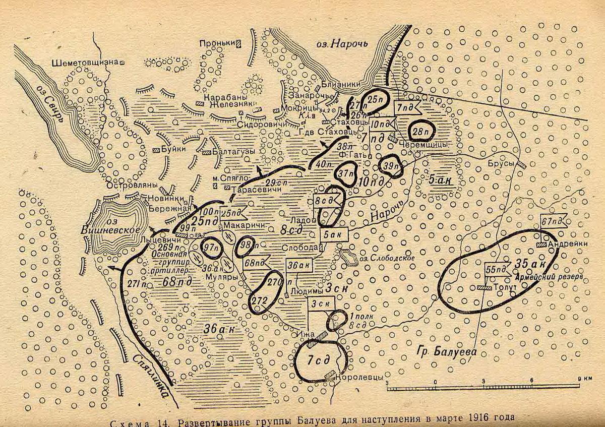 Развертывание русских войск для наступления между озерами Нарочь и Свирь в марте 1916 года.