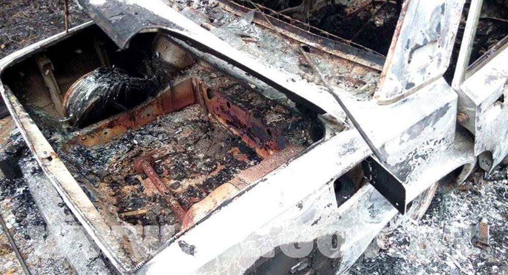 Сгоревший автомобиль, найденный под Жлобином