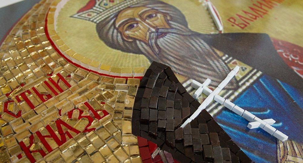 Фрагмент мазаічнай іконы святога князя Уладзіміра