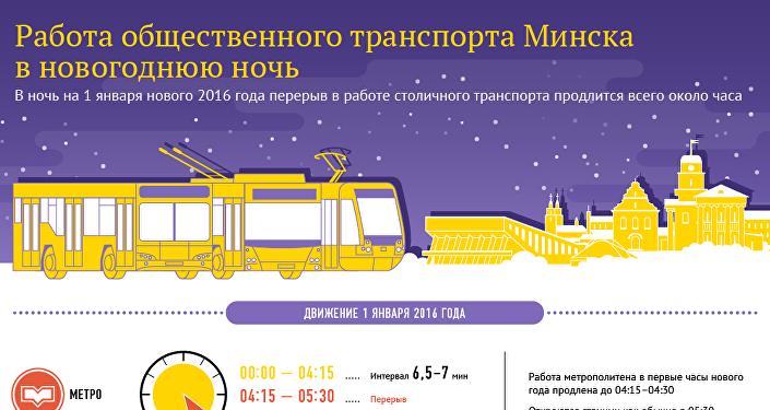 Работа общественного транспорта Минска в новогоднюю ночь