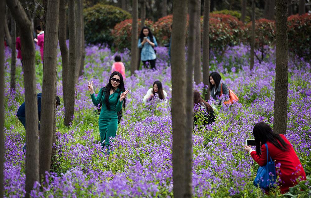 Людзі робяць сэлфі на фоне кветак у парку Гукун ў Шанхаі
