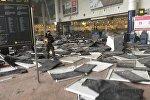 Последствия взрыва в аэропорту в Бельгии