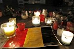 Свечкі на месцы выбухаў у сталіцы Бельгіі