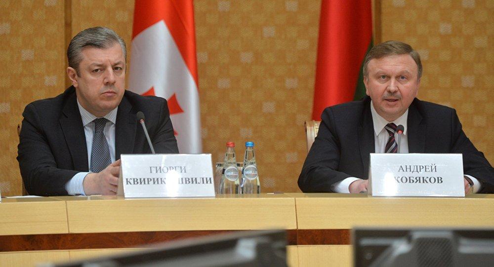 Премьер-министр Грузии Георгий Квирикашвили и премьер-министр Беларуси Андрей Кобяков