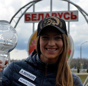 Дарья Домрачева с Большим хрустальным глобусом