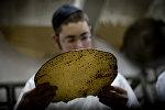 Иудей рассматривает мацу, сделанную традиционным ручным способом пресный хлеб на Песах