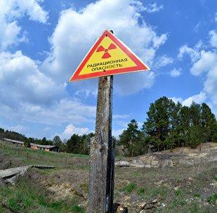 Папераджальны знак на тэрыторыі Палескага дзяржаўнага радыяцыйна-экалагічнага запаведніка ў зоне адчуджэння