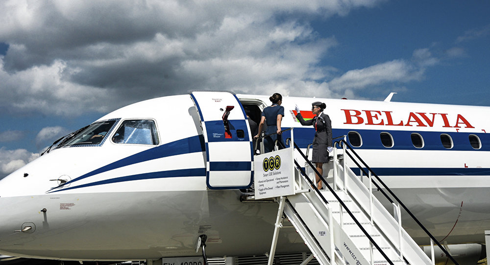 Самолет белорусской авиакомпании Белавиа на Международном авиационно-космическом салоне Фарнборо-2014