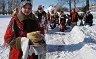 Празднование Масленицы в белорусской деревне Речень