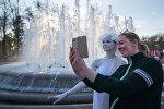 Открытие фонтана у Большого театра в Минске.