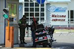 Мотоциклист на белорусско-польской границе