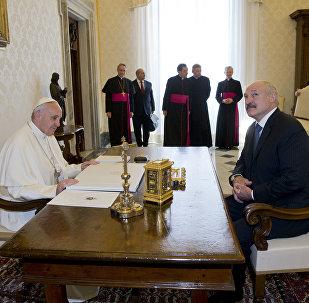 Встреча Папы Римского и белорусского президента Александра Лукашенко в Ватикане.