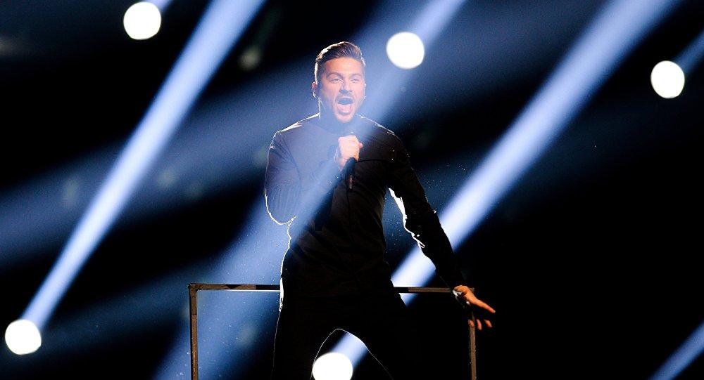 Сергей Лазарев (Россия) на генеральной репетиции первого полуфинала 61-го международного конкурса песни Евровидение - 2016 в Стокгольме.