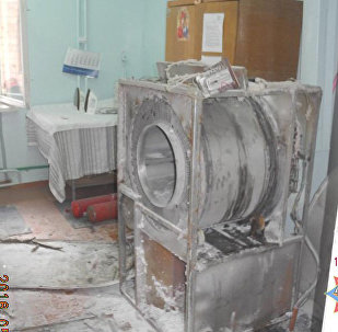 Сгоревший сушильный барабан в прачечной