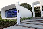 Шейх Мохаммед ибн Рашид Аль Мактум возле напечатанного на 3D-принтере здания