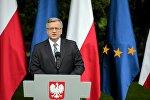 Бронислав Коморовский произносит речь по итогам первого раунда выборов президента Польши