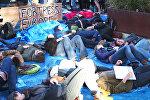 Спутник_Митингующие в защиту мигрантов разыграли кораблекрушение у Европарламента