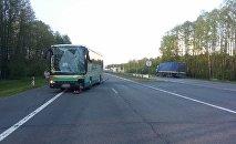 ДТП с участием автопоезда МАЗ и автобуса Setra