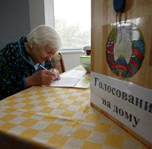 Жительница деревни Слободщина голосует на дому