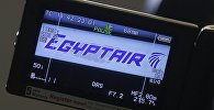 The company logo is displayed on a video camera screen at the Egyptair desk at Charles de Gaulle airport, after an Egyptair flight disappeared from radar during its flight from Paris to Cairo, in Paris, France, May 19, 2016