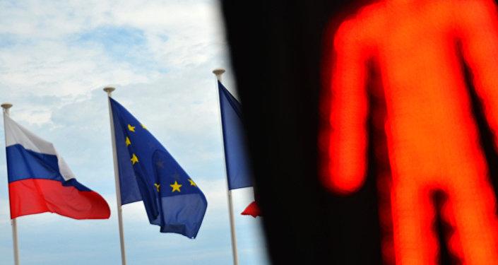 Флаги России, ЕС и Франции