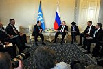 Президент РФ Владимир Путин и генеральный секретарь Организации объединенных наций Пан Ги Мун