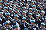 Парадные расчеты десантников на генеральной репетиции военного парада