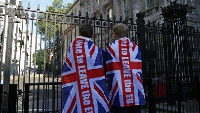 Сторонники выхода из ЕС на Даунинг-стрит в Лондоне