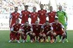 Игроки сборной Беларуси перед началом матча с россиянами
