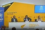 Пресс-конференция представителя УВКБ ООН в Беларуси Жан-Ива Бушарди и белорусской гимнастки Мелитины Станюты