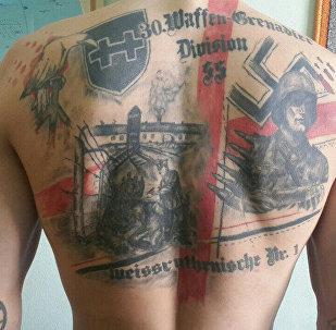 Татуировки на спине подозреваемого